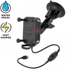 RAM® Tough-Charge™ X-Grip Waterproof Wireless Charging Suction Cup Mount