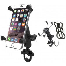 Handlebar Rail Mount with Zinc Coated U-Bolt Base & Universal X-Grip® Large Phone Phablet Holder