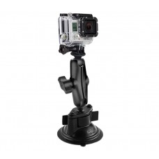 "Twist Lock Suction Mount with 1"" Ball GoPro® Hero, TomTom Bandit & Garmin VIRB X & XE Adapter"