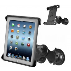 "Double Twist Lock Suction Cup Mount with Tab-Tite™ Holder for 10"" Tablets w/ or w/o cases"