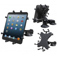 "Double Twist Lock Suction Cup EFB Mount with Retention Knob & X-Grip® Holder for 10"" Tablets"