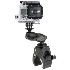 Small Tough-Claw™ Base with Short Double Socket Arm and Universal Action Camera Adapter