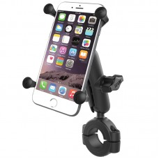 "Torque™ 1 1/8"" - 1 1/2"" Diameter Handlebar/Rail Base with 1"" Ball, Standard Arm and X-Grip® for Larger Phones"